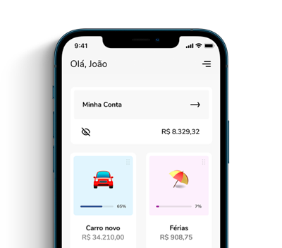 Aplicativo mostrando como é a conta digital do Banco Bari