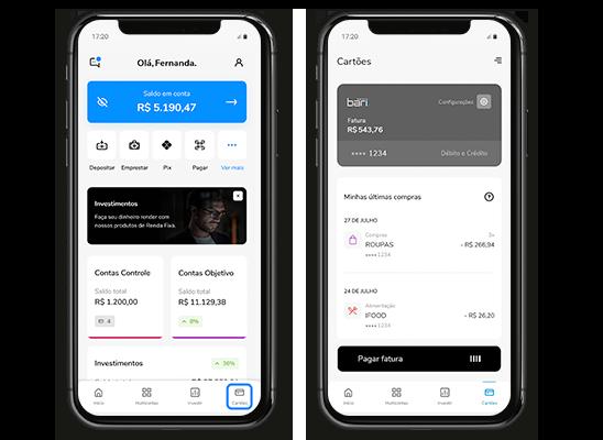 Celular mostrando as telas da home e de do cartões no aplicativo Banco Bari