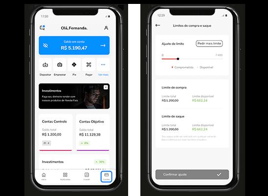 Celular mostrando as telas da home e de ajuste de limite do cartão no aplicativo Banco Bari