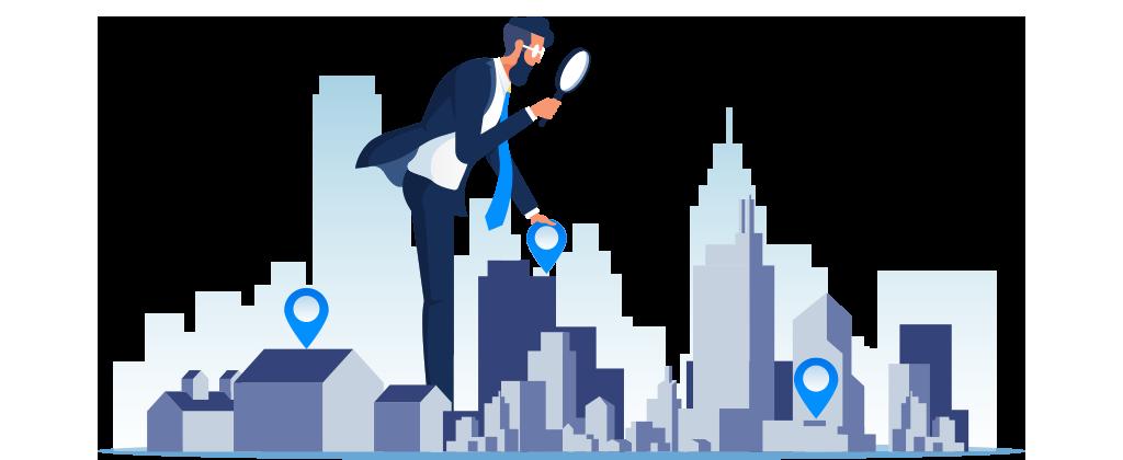 Ilustração mostra homem gigante sobre uma grande cidade com uma lupa buscando imóveis.