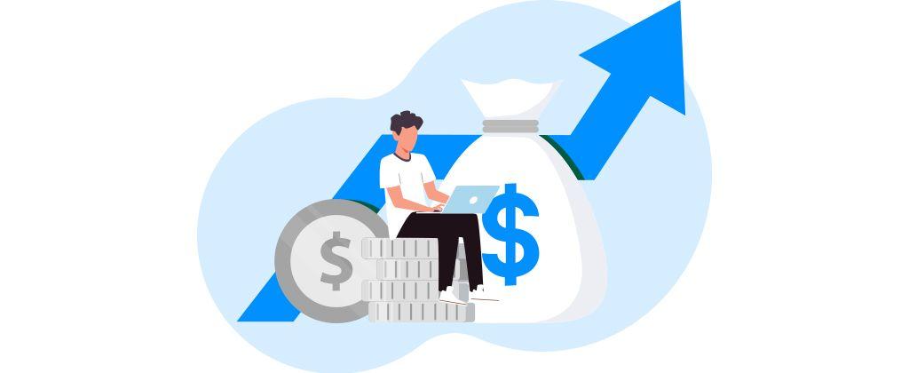 Ilustração mostra homem utilizando um notebook sentado em moedas e cercado por ícones que representam dinheiro e finanças.