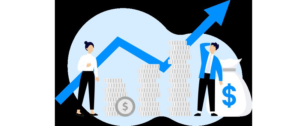 Ilustração mostra duas pessoas interagindo com ícones que representam dinheiro.
