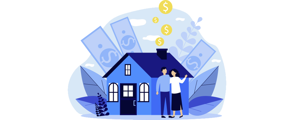 Ilustração mostra um homem e uma mulher em frente a uma casinha azul cercada de cédulas de dinheiro e moedas.