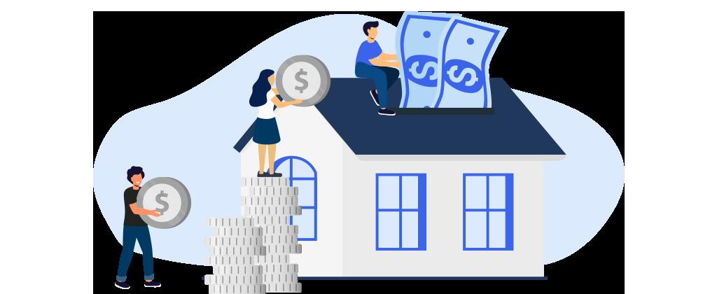 Ilustração mostra três pessoas interagindo com uma casa e algumas cédulas de dinheiro e mordas.