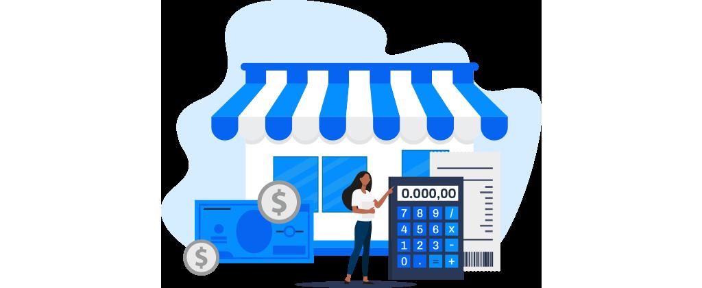 Ilustração mostra uma mulher em frente a um estabelecimento comercial interagindo com uma calculadora, algumas cédulas de dinheiro e moedas.