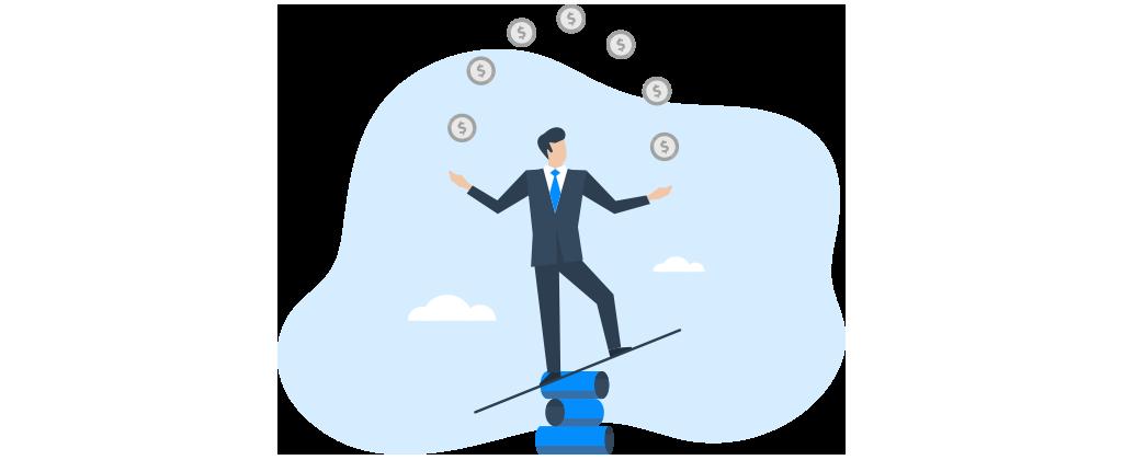 Ilustração mostra homem fazendo malabarismo com moedas.