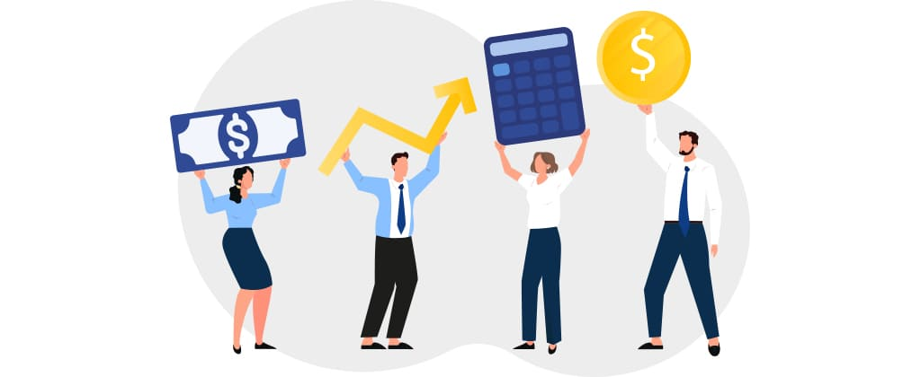 ilustração de pessoas segurando ícones que simbolizam dinheiro, aumento de renda, cálculos e investimento