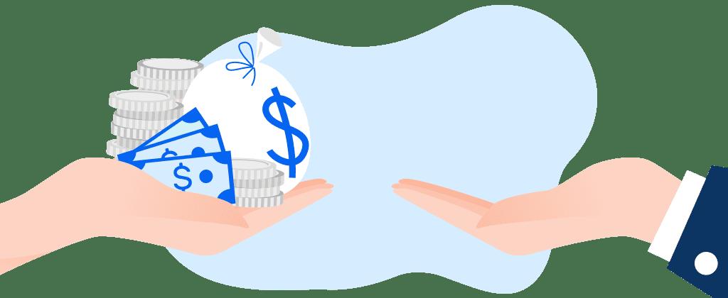 ilustração de mão com dinheiro perto de mão sem dinheiro