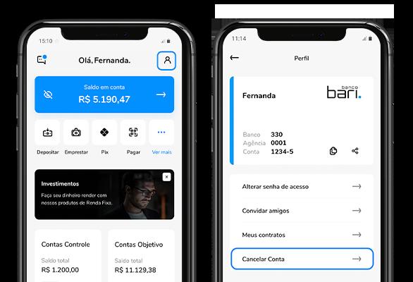 Celular mostrando as telas da home e de extrato do aplicativo Bari.