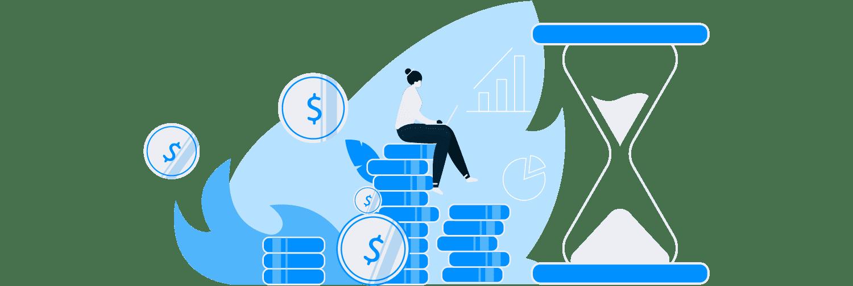 Ilustração mostra uma mulher interagindo com vários ícones que representam dinheiro.