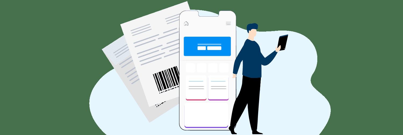 ilustração de papéis com código de barras e celular com app aberto para pagar conta próximos a um boneco com tablet na mão