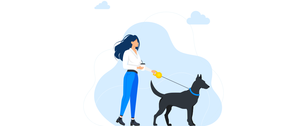 Ilustração de uma mulher passeando com um cachorro