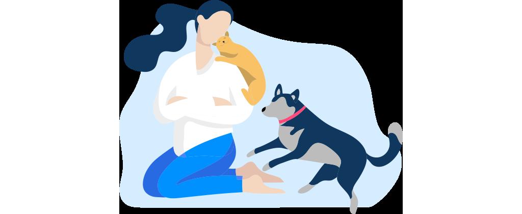 ícone de uma mulher ajoelhada ao chão com um gato nos ombros e um cachorro pulando para brincar com ela