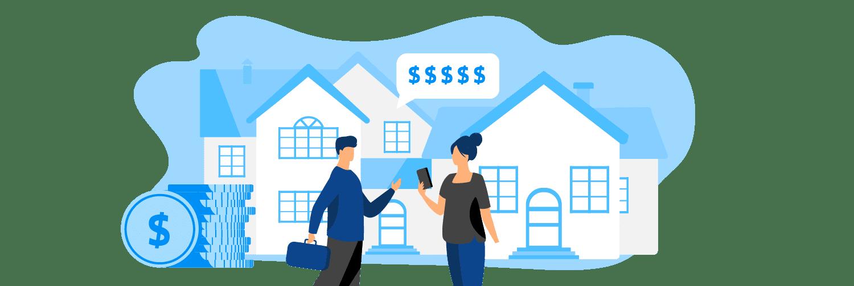 Ilustração mostra pessoas em frente a um imóvel utilizando um celular e cercados por ícones de dinheiro.