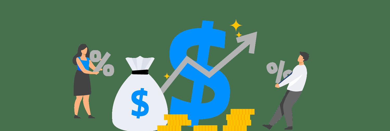 Ilustraçao mostra homem e mulher interagindo com ícones que representam dinheiro e inflação, como moedas, saco de dinheiro, gráficos e símbolo de porcentagem.