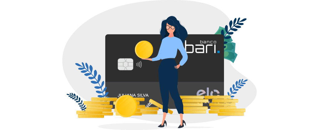 ilustração de cartão do banco bari com mulher segurando uma bola amarela simulando moedas