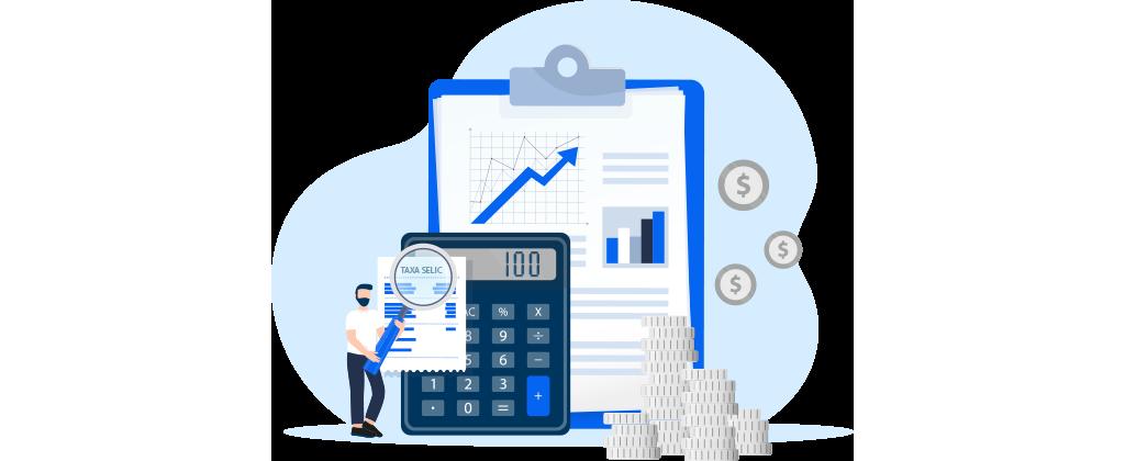ícone de um homem analisando a taxa SELIC, em frente a uma calculadora que está em frente a uma prancheta com papéis de gráficos