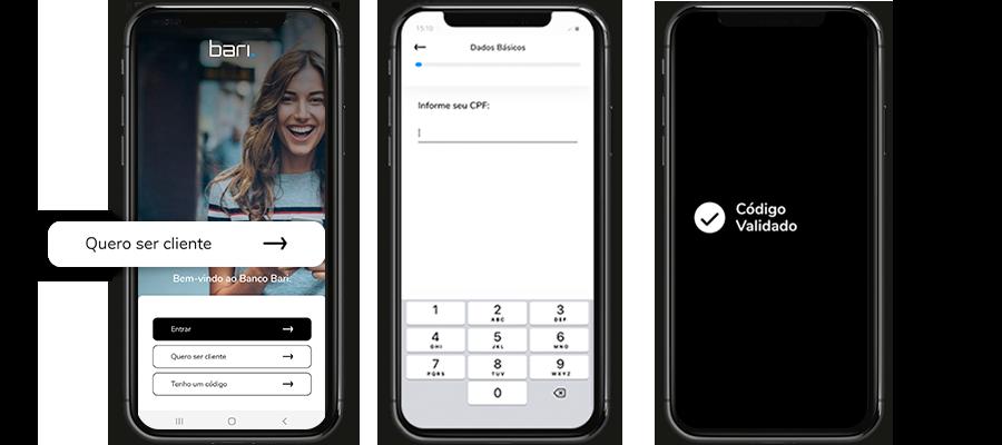 Celular mostrando as telas de cadastro do aplicativo Bari.