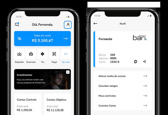 Celular mostrando as telas da home e de perfil do  aplicativo Bari.