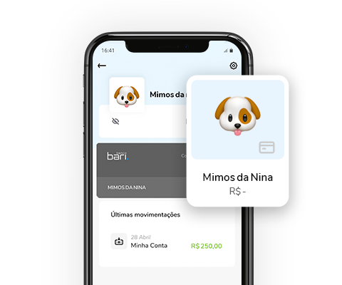 Imagem mostra celular com aplicativo Banco Bari aberto em uma Conta Controle chamada mimos da nina.