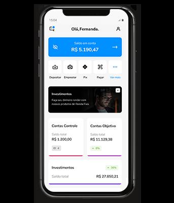 Imagem mostra celular com aplicativo Banco Bari aberto na home.