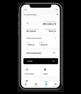Imagem mostra celular com aplicativo Banco Bari aberto na tela de investimentos mostrando os saldos e as aplicações.
