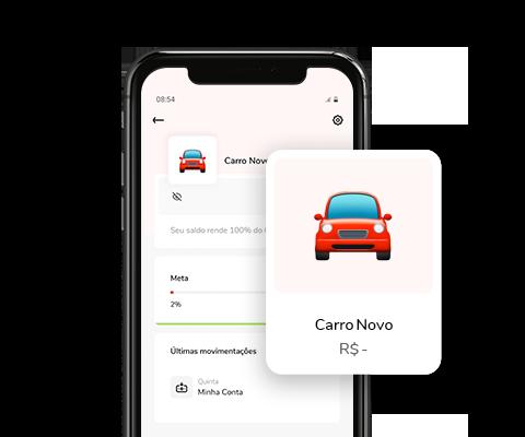 Imagem mostra celular com aplicativo Banco Bari aberto em uma Conta Objetivo chamada carro novo.