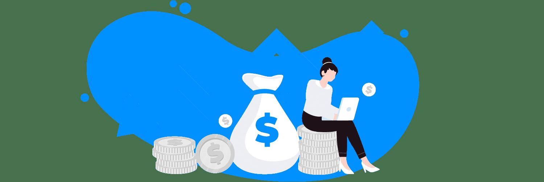 Ilustração mostra uma pessoa utilizando um computador sentada em moedas e cercada por ícones que simbolizam dinheiro.