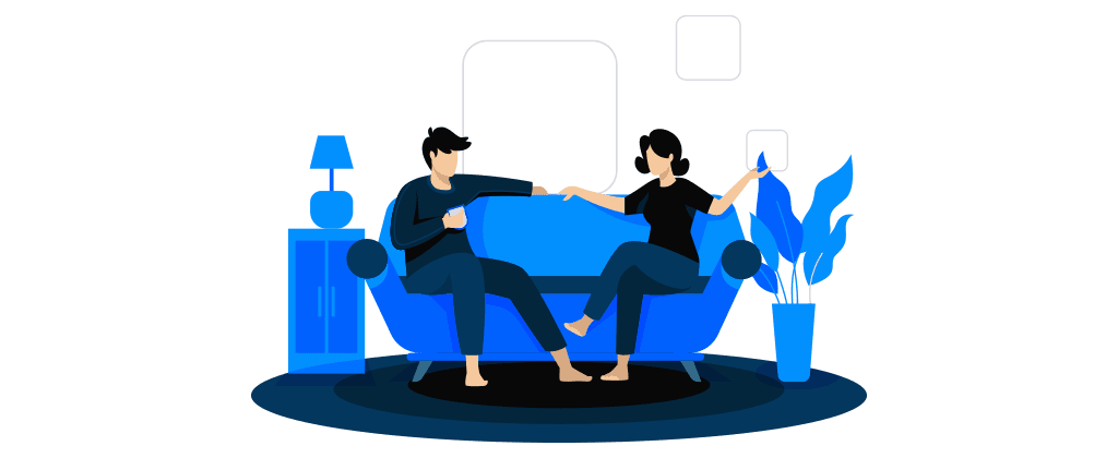Ilustração mostra homem e mulher conversando sentados em sofá de sala de estar.