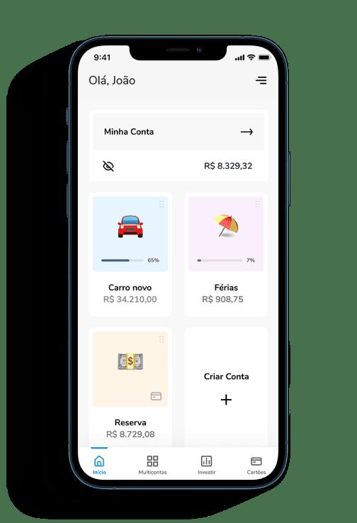 Tela da Multiconta do aplicativo Banco Bari