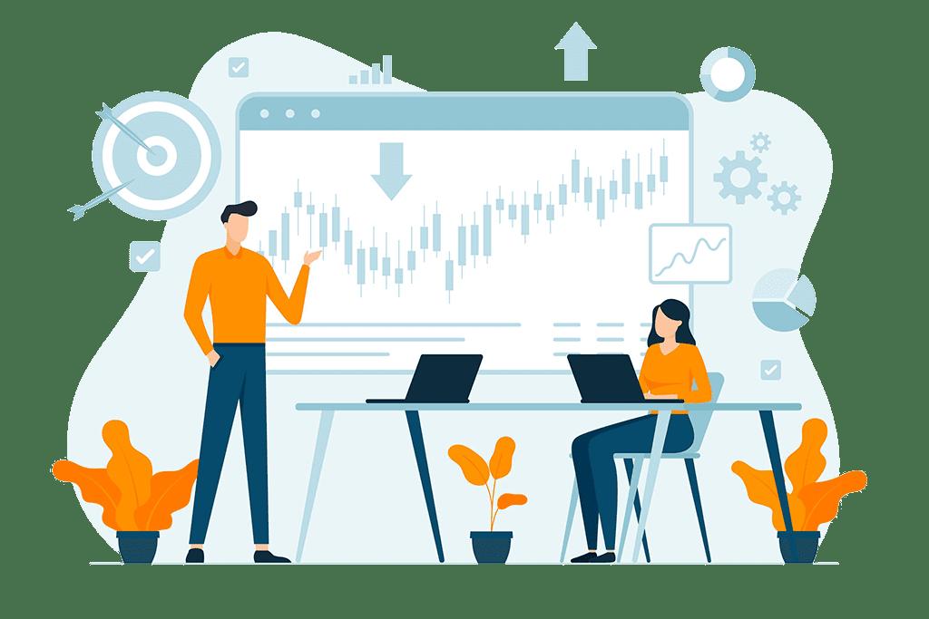 Ilustração mostra homem e mulher em mesa de reunião avaliando quadro de investimentos, com gráficos.