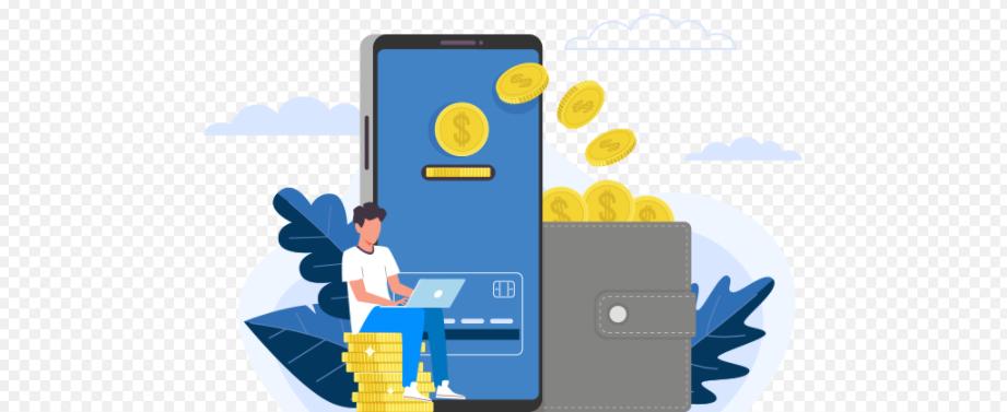 ilustração de homem sentado em pilha de moedas mexendo no computador