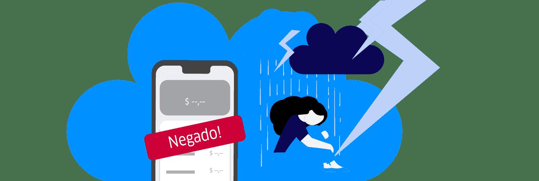 Ilustração mostra pessoa chateada e uma tela de celular com a palavra