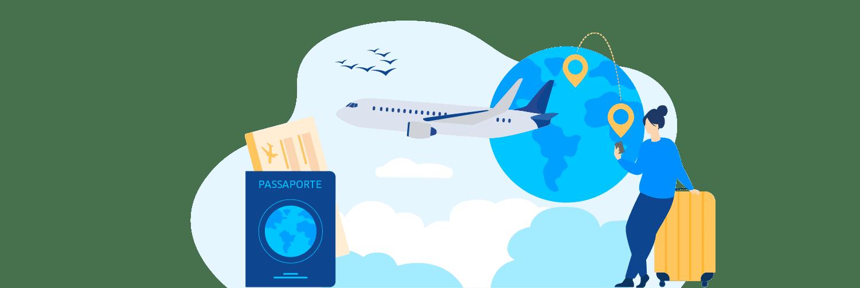 Ilustração mostra uma pessoa utilizando o celular com uma mala cercada por ícones que representam viagem como passaporte, avião e globo.