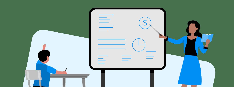 ilustração mostra professora ensinando finanças em um quadro e criança sentada em carteira escolar com o braço levantado para perguntar.