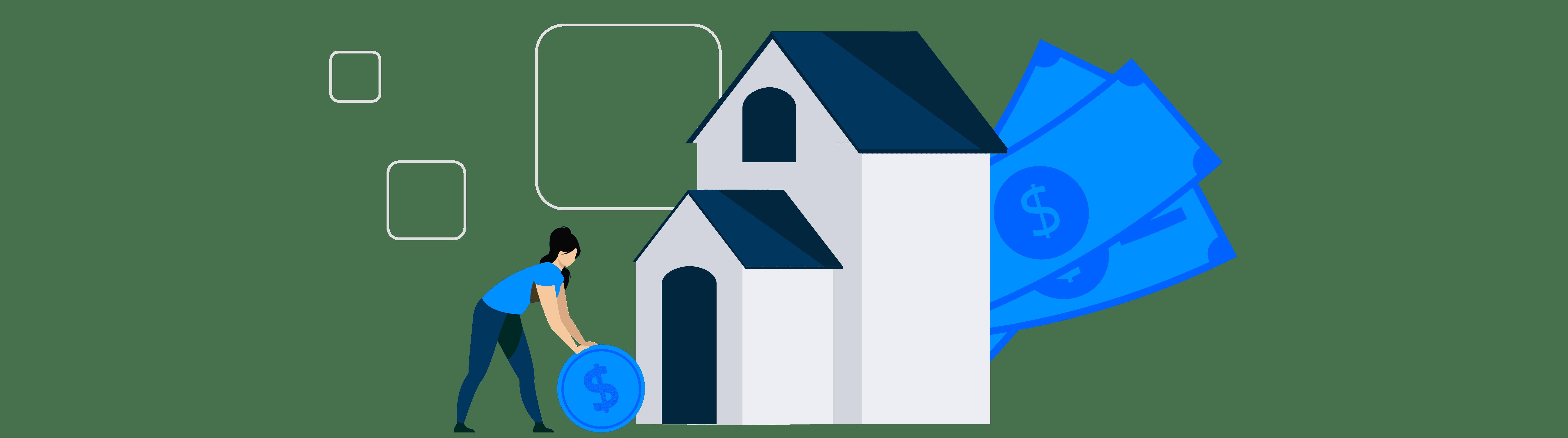 Ilustração mostra uma pessoa, uma casa e algumas notas de dinheiro e moedas.