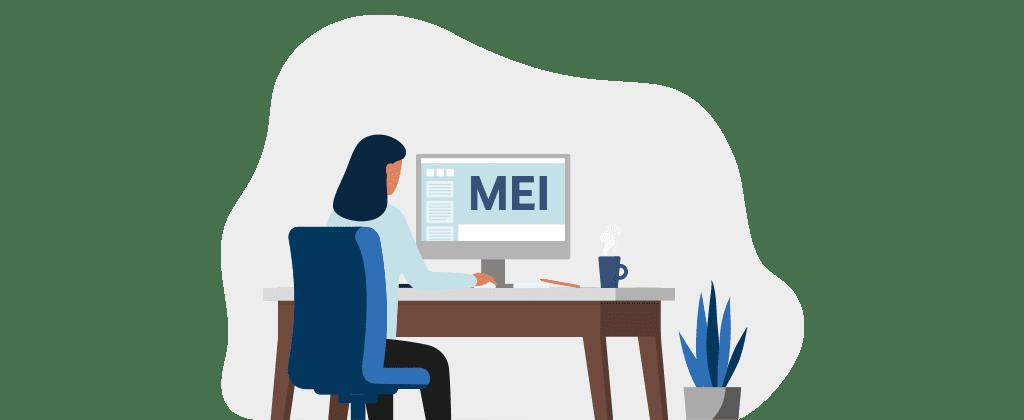 Ilustração mostra uma mulher em mesa de trabalho, monitor mostra a palavra MEI.