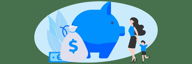 Ilustração mostra um porquinho gigante, alguns ícones representando dinheiro e uma mulher segurando na mão de uma criança.
