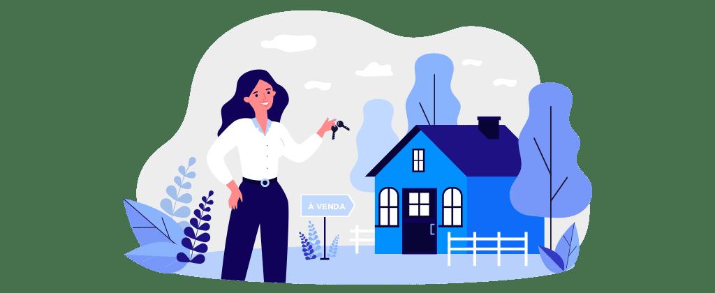 Ilustração mostra uma mulher com chaves na mão em frente a uma casa e