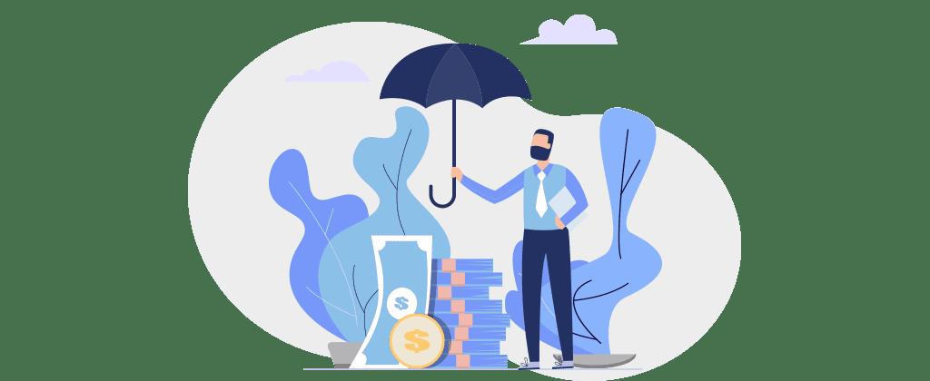 Ilustração mostra homem segurando um guarda chuva protegendo cédulas de dinheiro.