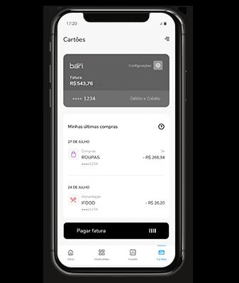 Celular mostra a tela de pagar fatura no aplicativo Banco Bari