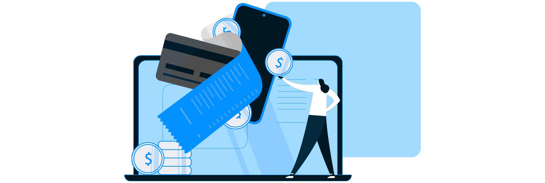 Ilustração mostra uma pessoa interagindo com ícones que representam dinheiro e tecnologia.