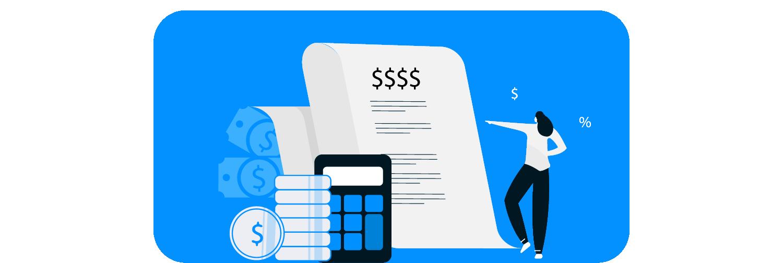 Ilustração mostra uma pessoa interagindo com moedas, cédulas de dinheiro, calculadora e papéis.