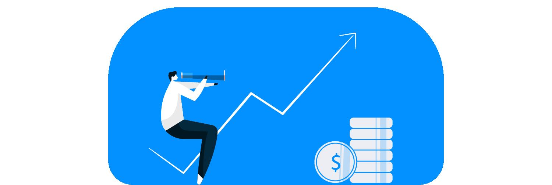 ilustração mostra um homem sentado em um gráfico de rentabilidade ascendente, cercado por algumas moedas e cifrões.