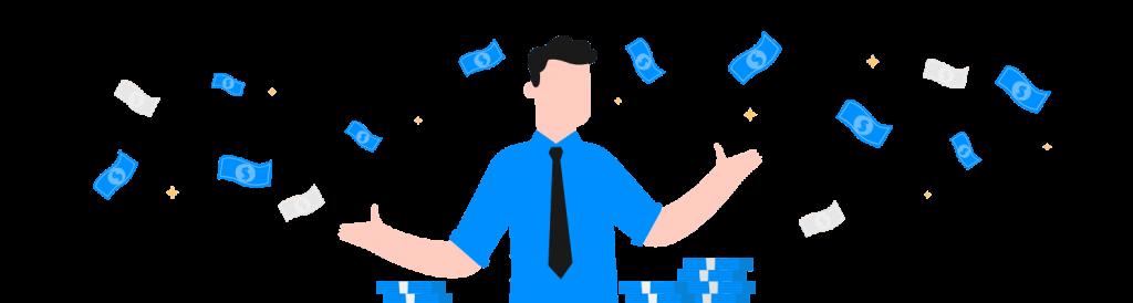 Desenho gráfico de homem mostrando como ganhar dinheiro extra