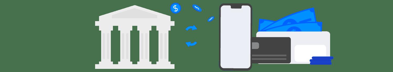 Desenho de celular, cartão, carteira de dinheiro