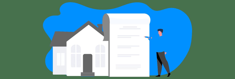 Ilustração mostra uma pessoas assinando um papel gigante em frente a uma casa.