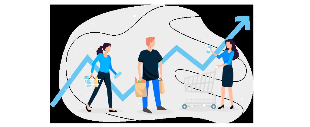 Ilustração mostra três pessoas fazendo compras.