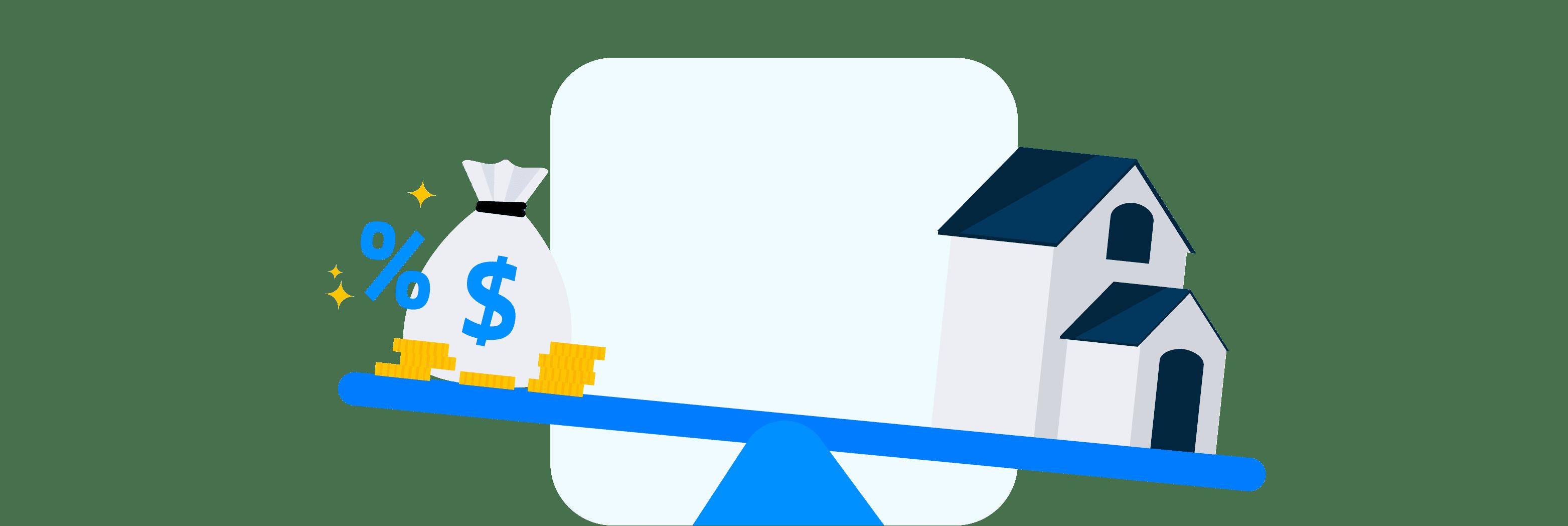 Ilustração mostra de forma lúdica uma gangorra com uma casa de um lado e sacos de dinheiro, moedas e um ícone de porcentagem do outro.