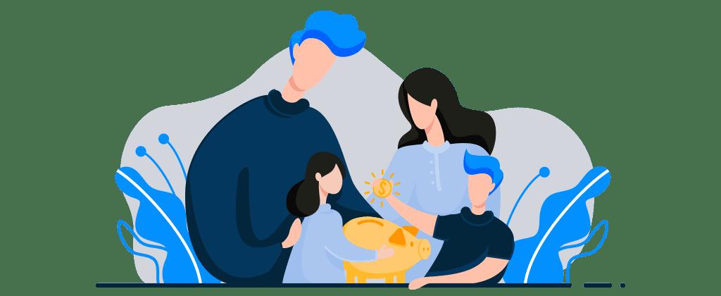 Ilustração mostra dois adultos e duas crianças interagindo com um cofre de porquinho. Uma das crianças segura uma moeda.